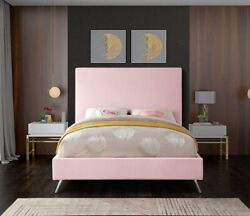 King Size Bed Pink Velvet Gold Chrome Legs Bedroom Furniture Contemporary Style
