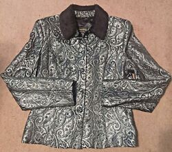JESSICA McCLINTOCK COLLECTIONS SZ 10 VTG 90s PEWTER Evening Jacket W Faux Fur $27.99