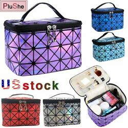 Women Multifunctional Travel Make Up Bag Leather Cosmetic Organizer Zipper Pouch $8.59