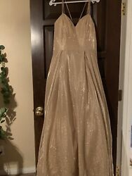 LET'S GORGEOUS GOLD EVENING FORMAL GOWN Mother of brideBridesmaid Prom Large $100.00