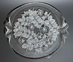 """Mikasa Crystal - Bianca - Cake Plate Platter- Frosted Glass Flowers 14"""" Perfect"""