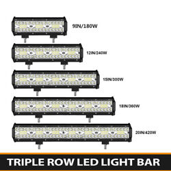 Tri Row 4/7/9/12/15/18/20inch Led Work Light Bar For Off Road Car Truck Suv Jeep