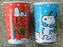 2 Christmas Peanuts Snoopy Beagle PLASTIC CUPS by GIBSON 4 1 4quot; Tall FREE SHIP