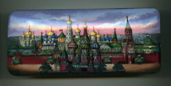 Russian Lacquer Box.fedoskino. Moscow. St. Basil's Cathedral. Hand Painted.