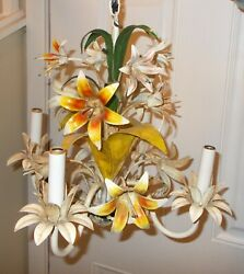 Vtg Italy Tole Painted Metal Hanging Light Fixture Floral Lily Flowers Garden