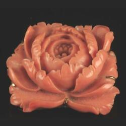 Vintage Finely Carved Salmon Coral Rose 18k Gold Ladies Pin Brooch
