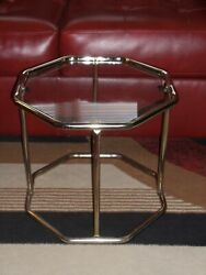 Vintage Metal And Glass Mid Century Modern Plant Stand Display Table Side Table