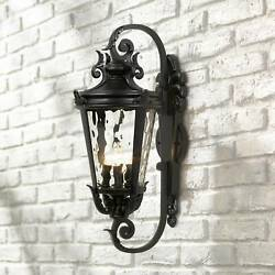 Outdoor Wall Light Fixture Textured Black 27 1/2 Hammered Glass For Porch Patio
