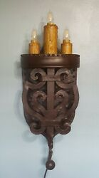 Hand Forged Iron Gothic Medieval Style Candelabra Lighting Wall Sconce Mexico