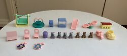 Vintage Teddy's Wonderland Village Bear Figures And Accessories Toy 90s Rare Lot