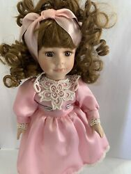 Geppeddo Porcelain Doll Collectors Choice Dandee Red Curls Pink Dress Curly Hair