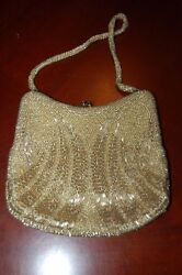 evening bag gold beaded small vintage $38.00