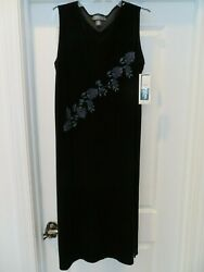 NWT NEW Woman#x27;s 14 Black Long Evening Velvet Gown Dress Maxi IMPRESSIONS Large $32.99