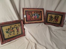 Rare African Heritage Framed Silk Painting African American Matted Artwork