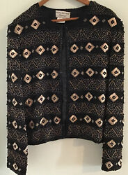 PAPELL BOUTIQUE EVENING Women#x27;s Silk Beaded Beautiful Top Blouse Size 14 $20.00