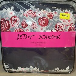 Betsey Johnson Twin Bedding Black Red Pink Rose Comforter With Sham New