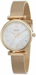 Fossil Women#x27;s Carlie Mini Quartz Mesh Three Hand Watch Rose Gold ES4433 $59.95