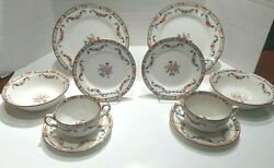 J And G Meakin Sol Richmond Dinner Floral Swag Set 8 And Mintons England Saucers 2