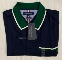 New Tommy Hilfger Men#x27;s Short Sleeve Polo Navy Color Size L Slim Fit $23.00 $23.00