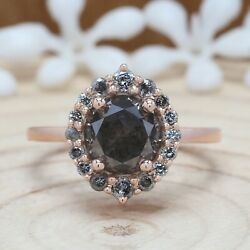 Salt And Pepper Round Diamond 14k Solid Gold Ring Engagement Gift Ring Kdk1989