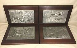4 Pewter Hunting Dog Art Pieces On Wood Plaques Anthony T Jones Franklin Mint
