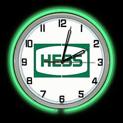 19 Hess Oil Gas Station Chemical Sign Double Neon Clock