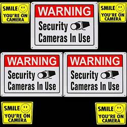 Party Store Security Camera Recording Warning Signs+smile Video Home Stickers