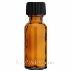 1/2 Oz 15ml Amber Boston Round Glass Bottles With Closed Coned Caps 12 24 72 144