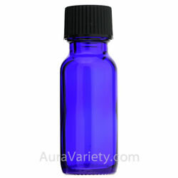 1/2 Oz 15ml Cobalt Blue Boston Round Glass Bottles With Coned Caps 12 24 72 144