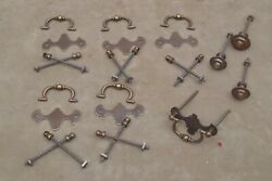 Lot Of Antique 9 Brass Dresser Drawer Cabinet Pulls 6 Bail Drop Pulls And 3 Knobs