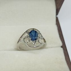 Antique 925 Sterling Silver Vintage Sapphire And Diamond Christmas Star Rings