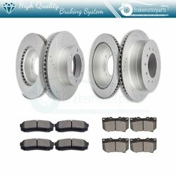Front Rear Drill Slot Ceramic Brake Pads And Rotors For Toyota Sequoia 03 - 2007
