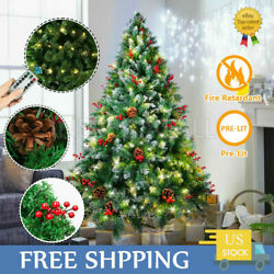 6ft Christmas Tree Spray White With Remote Copper Light And Pine Cone + Red Fruit
