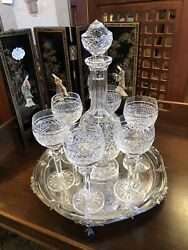 Vintage Waterford Clear Cut Glass Liquor Decanter With Stopper And Six Glasses