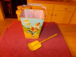 Vintage 1940s Or 1950s J Chein Mother Goose Square Sand Pail With Yellow Shovel