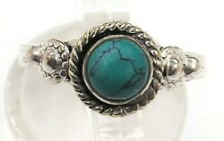 Turquoise Womens Ring Sterling Silver Fine Beautiful Jewellery Band Size N
