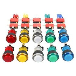 Eg Starts 10x New Led Lit Arcade Push Buttons With Micro Switch Mame Multicad...