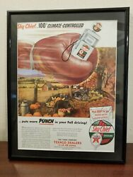 Vintage Skychief Texaco Magazine Ad Framed And Matted Very Nice Mancave Art