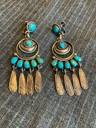 Vintage Zuni Sterling And Petit Point Morenci Turquoise Earrings C.and03940s