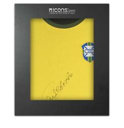 Carlos Alberto Front Signed Retro Brazil Home Shirt In Deluxe Packaging