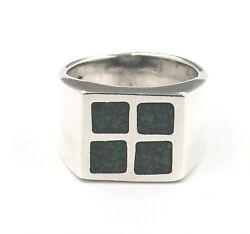 Turquoise And 925 Sterling Silver Mens Womens Ring Fine Statement Jewellery Size Q