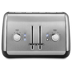 4-slice Silver Wide Slot Pop-up Toaster With Crumb Tray And Shade Control Settings