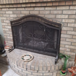 Large Fireplace Screen Heavy-duty Iron Frame Panel Free Standing Portable Guard