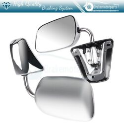 Pair Chrome Mirrors For 1973-1986 Chevy Gmc Manual Folding And Lh+rh
