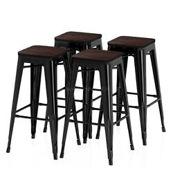 Metal Bar Stools High Bar Chair Solid Wood Seat Backless Kitchen Bar Height 30