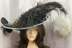 1900s Edwardian Hat Wide Brim Velvet Ostrich Feather Plume Gibson Girl 20andrdquo Rare