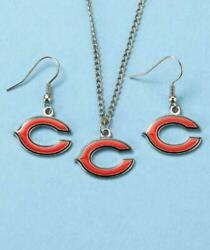 Nfl Chicago Bears Pendant And Earrings Set Women's Jewelry Gifts