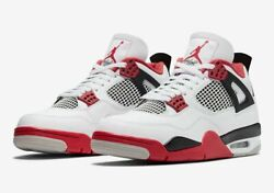 Nike Air Jordan 4 Retro Shoes Fire Red White Black Dc7770-160 Menand039s Or Gs New