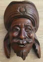 Chinese Asian Oriental Wooden Hand Carved Mask Wall Décor 8 Vintage