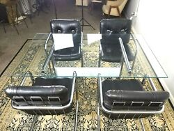 Vintage Chromcraft 6pc Dinette Set Faux Leather Lounge Type Chairs Cantilever